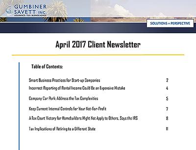 April 2017 Newsletter